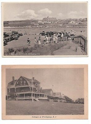 2 old postcards Weekapaug RI dunes and cottages