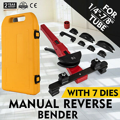 "Multi Manual Pipe Tube Bender Tool Kit 1/4""-7/8"" With 7 Dies Case Handy Conduit"