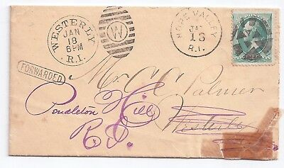 antique cover Westerly & Hope Valley Ri fancy cancels