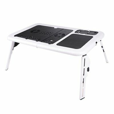 Foldable Portable laptop Desk Table Stand Bed Tray Dual Fans Y4S5