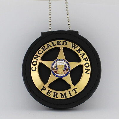 CONCEALED WEAPON Badge & Leather holder Belt Clip gold plated Chain