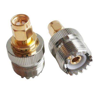 2x SMA Male to UHF Female SO239 SO-239 Plug RF Adapter Connect PL-259 Gold X6R9
