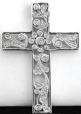0.51 ctw Diamond Cross Pendant Necklace in 14k white gold with Floral Motif