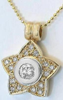 Unique 0.59 ctw Pave Bezel Set Diamond Star Pendant in 14k white and yellow gold