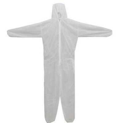White Disposable DIY Overall Suit Protective Hood Coverall Work Clothes M-3XL HA