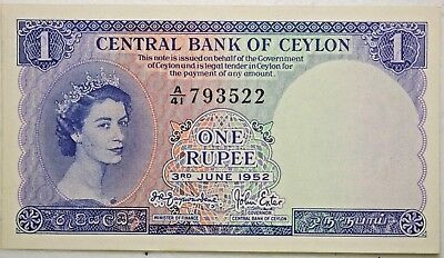 3rd June 1952 1 Rupee Bank Note From The Central Bank of Ceylon Sri Lanka Nice