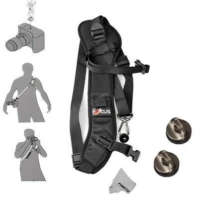 Focus F1 Quick Rapid Shoulder Sling Belt Neck Strap & 2pcs Screw Mount Black