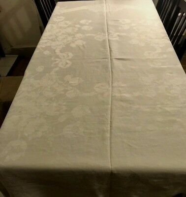 """Old VTG Damask Tablecloth 70"""" x 67"""" Great Tulips Pattern Tulip Bouquets & Bows"""