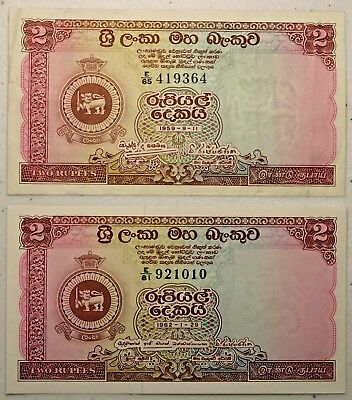 Variety Lot of Two 2 Rupees Notes 1959 & 1962 Central Bank of Ceylon Sri Lanka