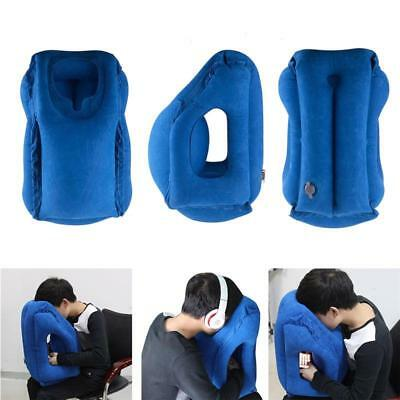 Portable Body Back Fold-able Support Blue Travel Pillows Inflatable Cushion Trip