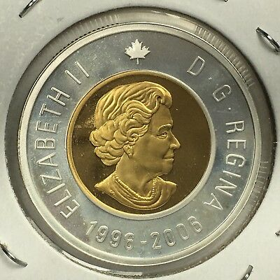 Canada 1996-2006 $2 Gold Plated 99.99% Proof Silver Toonie Heavy Cameo Coin