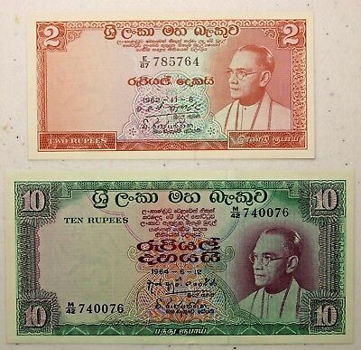 Lot of Two Notes 1962 2 Rupees & 1964 10 Rupees Central Bank of Ceylon Sri Lanka