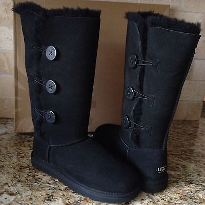 13c58c19c5a UGG AUSTRALIA GIRLS BAILEY BUTTON TRIPLET TALL BOOTS SZ 4 Y fits ...