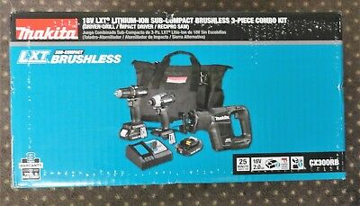Makita CX300RB 18V LXT Sub-Compact Brushless 3-Piece Combo Kit New In The BOX
