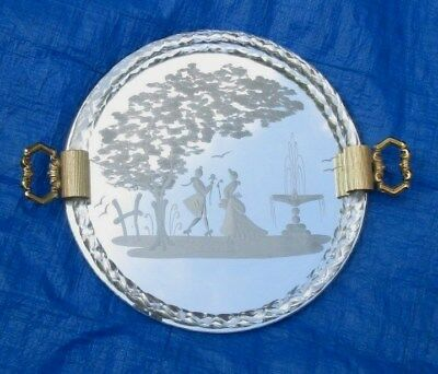 Beautiful Murano Etched Glass Dresser Or Serving Tray Twisted Rope Rim