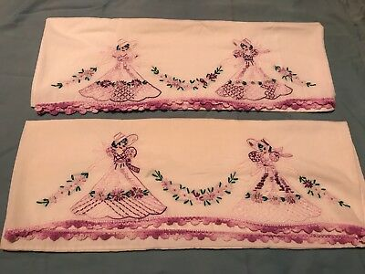 Vintage Pair Hand Embroidered Southern Belle Pastel Pillowcases, Crochet Edges