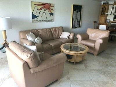 Italian Leather 74 inch sofa with side chairs and coffee table