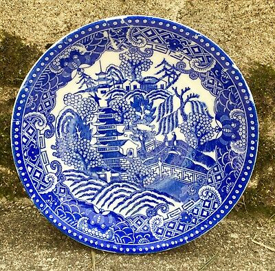 """Vintage Bright Cobalt And White Saucer In The Blue Willow Pattern 5 3/4"""" Round"""