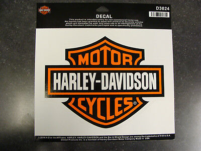 Harley-Davidson® Large Orange and White Bar and Shield Decal - D3024