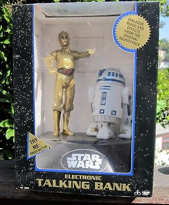 Star Wars Deluxe Electronic C3PO & R2D2 Thinkway Talking Bank Unopened MIB