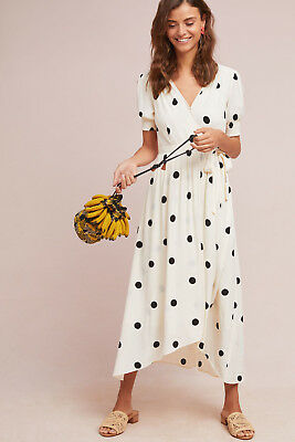 NWT Anthropologie Breanna Wrap Polka Dot Dress Sz 14 by Maeve Black White