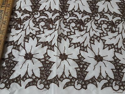 """Vintage Embroidery Cotton Eyelet Lace Brown White Linen Fabric 40"""" Wide"""