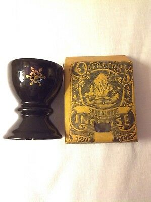 Black and gold cone incense burner or ashtray free incenses cones vintage unused