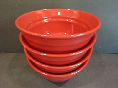 RACHAEL RAY~Double Ridge~ SET OF 4 RED Cereal/Soup Bowls~6""