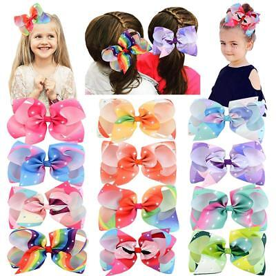 Baby Girl's Clips 6in Sparkling Rhinestones Large Grosgrain Ribbon Boutique Hair