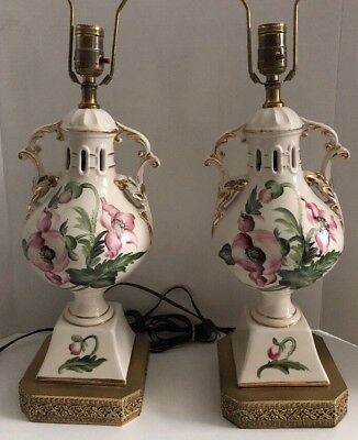 Pair Victorian Urn White Hand Painted Pink Poppy Gilt Ceramic Porcelain Lamp Vtg