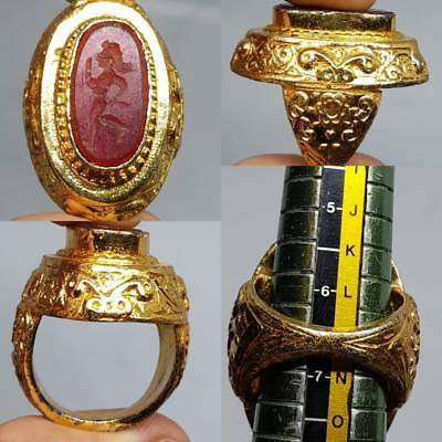 Old Agate stone Gold gilding Beautiful Unique Ring    # 3c