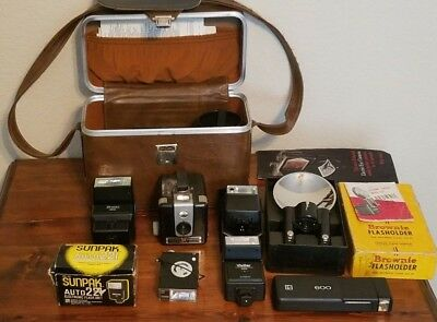 Lot of Vintage Cameras and Automatic Electronic Flashes with Carrying Case