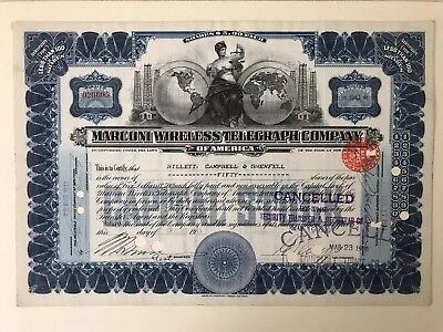 Marconi Wireless Telegraph Co 1913 Stock Certificate