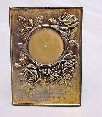 Vintage French Brass Rose Pattern Miniature Easel Back Picture Frame, Gift Idea