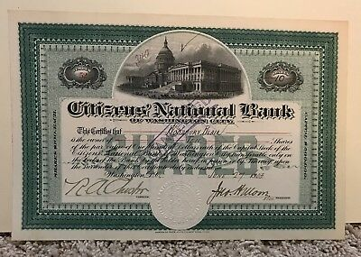 Citizens National Bank Of Washington City 1903 Stock Certificate