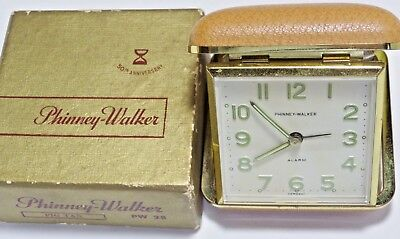Vtg Phinney-Walker Travel Alarm Clock PW 28 Wind Up Made In Germany w/ Box WORKS