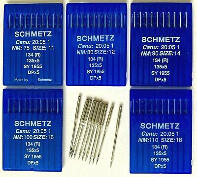 Schmetz Industrial Sewing Machine Needles DPx5 Canu 20:05 1 135X5 SY1955 75 90