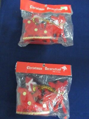 Vintage Flocked Santa & Reindeer Christmas Decoration Nip