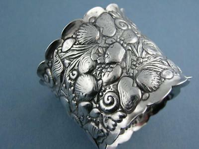 Sterling GORHAM Napkin Ring AESTHETIC sea life w/ shells coral seaweed crab