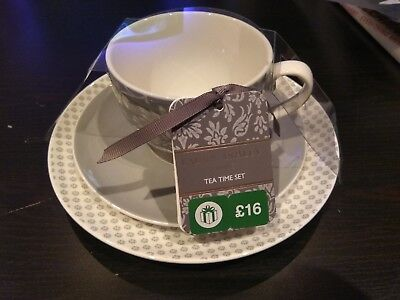 Brand New Laura Ashley Home Tea Time Set in grey