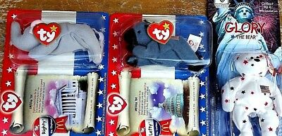 1999-2000 McDonald's American BEANIE BABIES LOT; Righty, Lefty, Glory the Bear