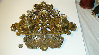 """1850.s LARGE """"FRENCH""""  BRONZE double INKWELL  INK STAND [GILDED] NUMBERED +1"""