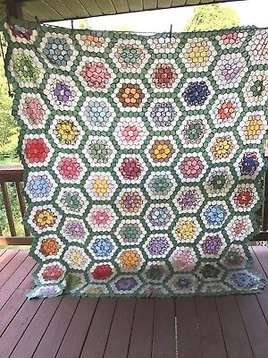"ANTIQUE FLOWER GARDEN HAND STITCHED QUILT TOP 82"" x 78"""