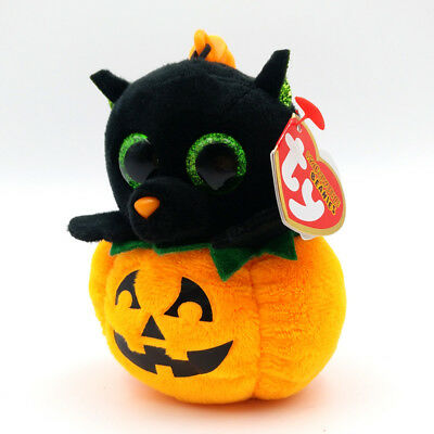 "3.2"" TY Halloweenie Beanies Midnight Cat Kid Gift With Tag Key Clip Stuffed Toys"