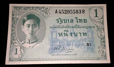 Rare Thailand Early King Rama Uncirculated Bank Note Early Baht 1940's Unc