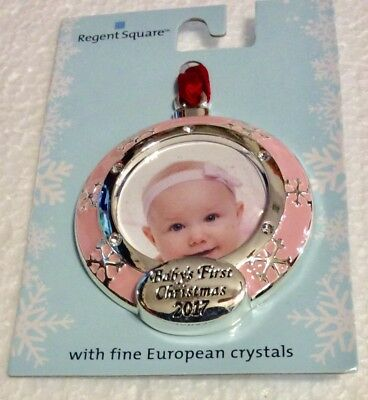 Baby's First Christmas 2017 Mini Photo Ornament Girl Pink Regent Square Crystals