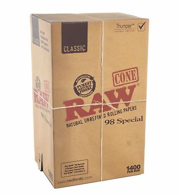 1400 Pack - RAW Classic Cones Special 98mm Authentic Pre-Rolled Cones w/ Filter
