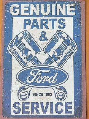 Ford Motor Company Genuine Parts & Service Metal Tin Sign Vintage Garage Decor