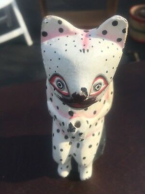 """funky hand (?) carved and hand (?) painted wood cat incense holder (?) 7"""" tall"""