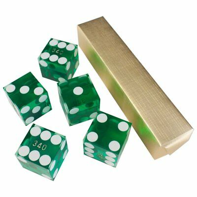 19mm AAA Grade Casino Craps Dice with Matching Serial Numbers (Set of 5, Green)